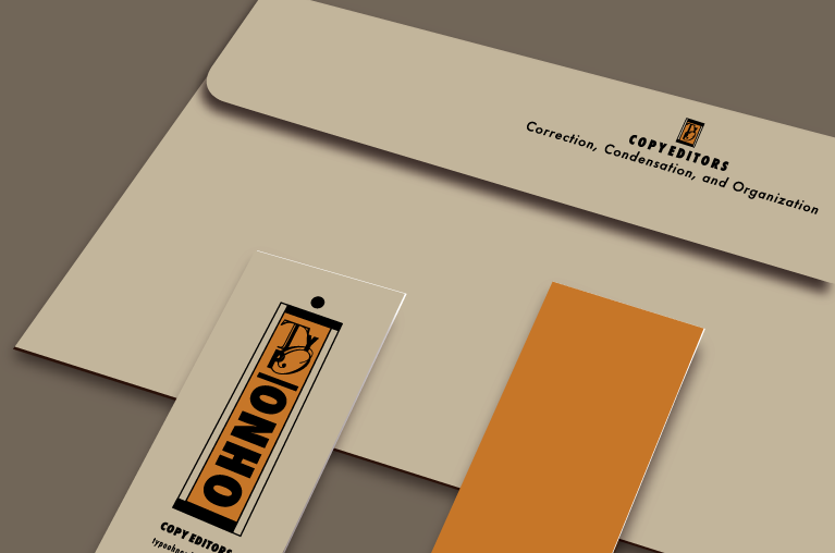 Typo Ohno business cards and envelope